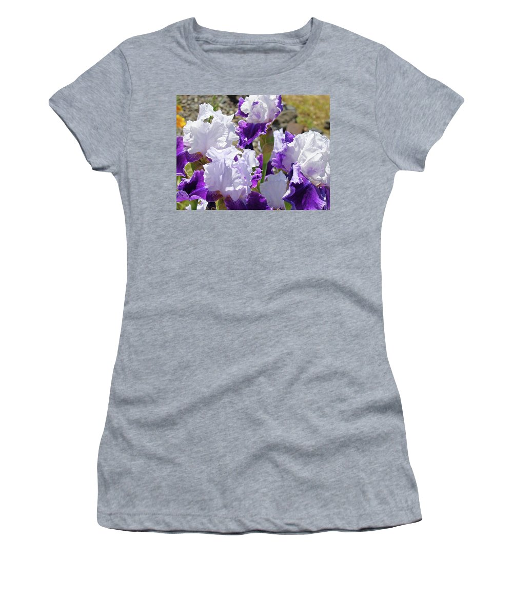 Iris Women's T-Shirt (Athletic Fit) featuring the photograph Summer Iris Garden Art Print White Purple Irises Flowers Baslee Troutman by Baslee Troutman