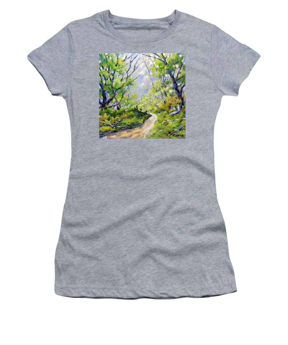 Art Women's T-Shirt (Athletic Fit) featuring the painting Summer Lights by Richard T Pranke