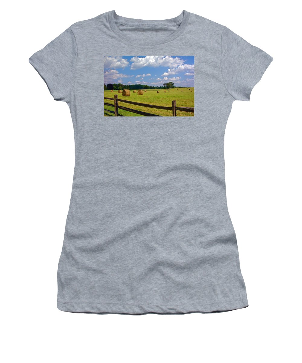 Landscape Women's T-Shirt (Athletic Fit) featuring the photograph Sun Shone Hay Made by Byron Varvarigos