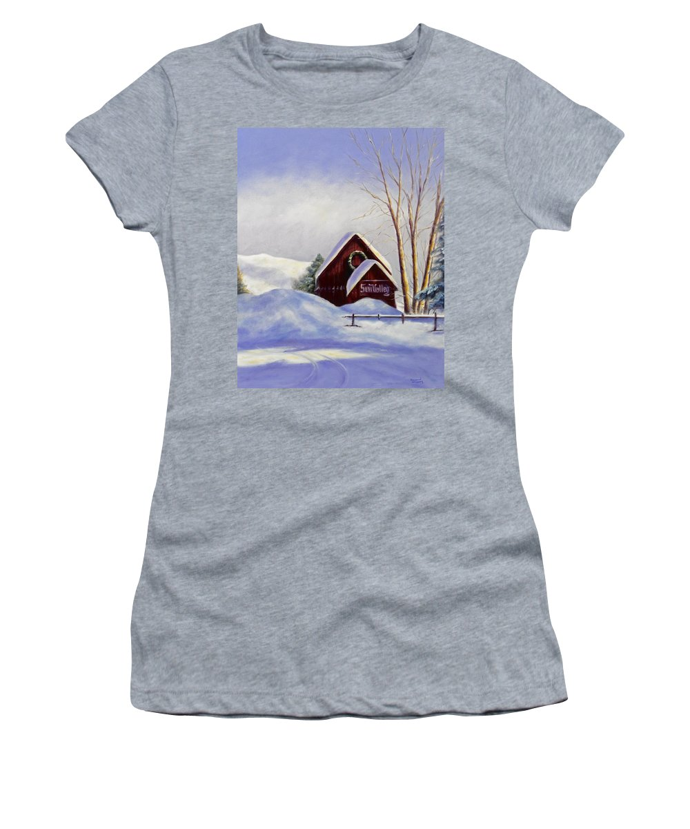 Landscape Women's T-Shirt (Athletic Fit) featuring the painting Sun Valley 2 by Shannon Grissom