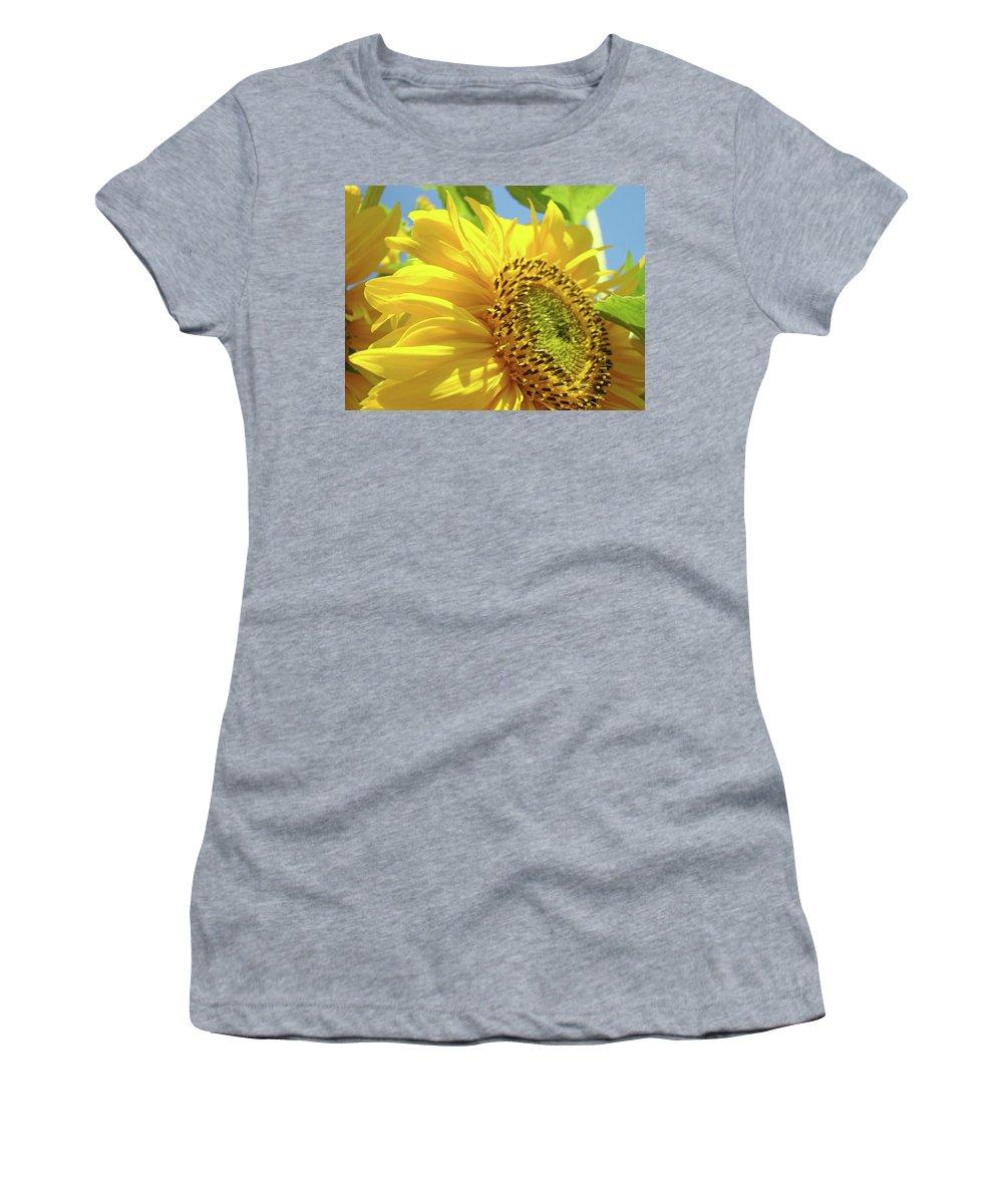 Sunflower Women's T-Shirt (Athletic Fit) featuring the photograph Sunflower Field Art Print Yellow Sun Flower Floral Baslee by Baslee Troutman