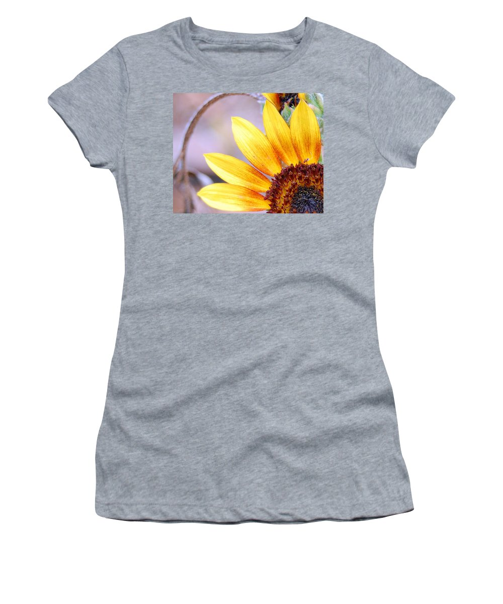 Sunflower Women's T-Shirt (Athletic Fit) featuring the photograph Sunflower Perspective by Amy Fose