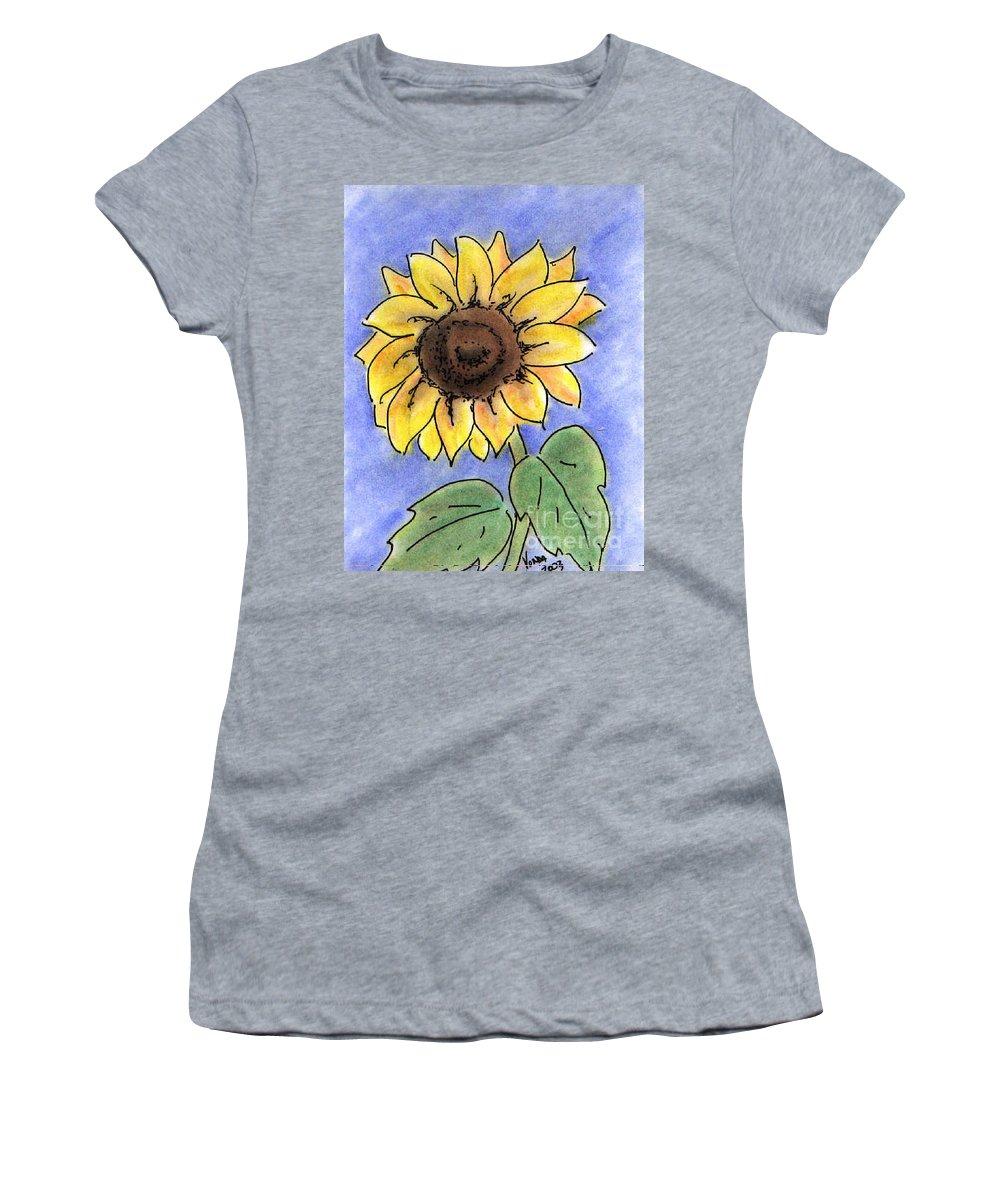 Sunflower Women's T-Shirt featuring the drawing Sunflower by Vonda Lawson-Rosa
