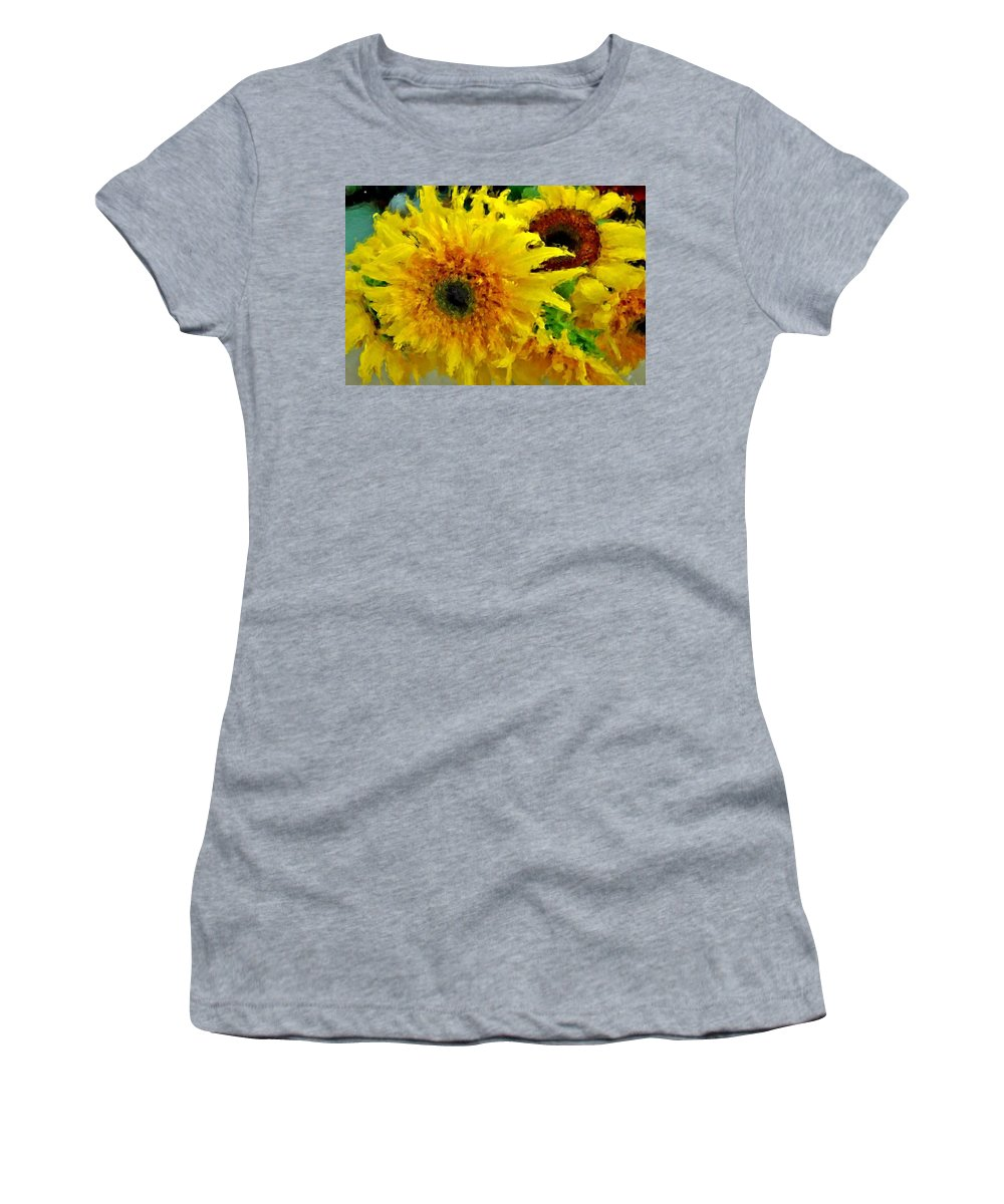 Sunflowers Women's T-Shirt (Athletic Fit) featuring the painting Sunflowers - Light And Dark by Michael Thomas