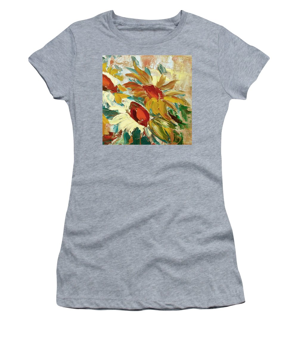 Sunflower Women's T-Shirt (Athletic Fit) featuring the painting Sunflowers 16 by Gina De Gorna