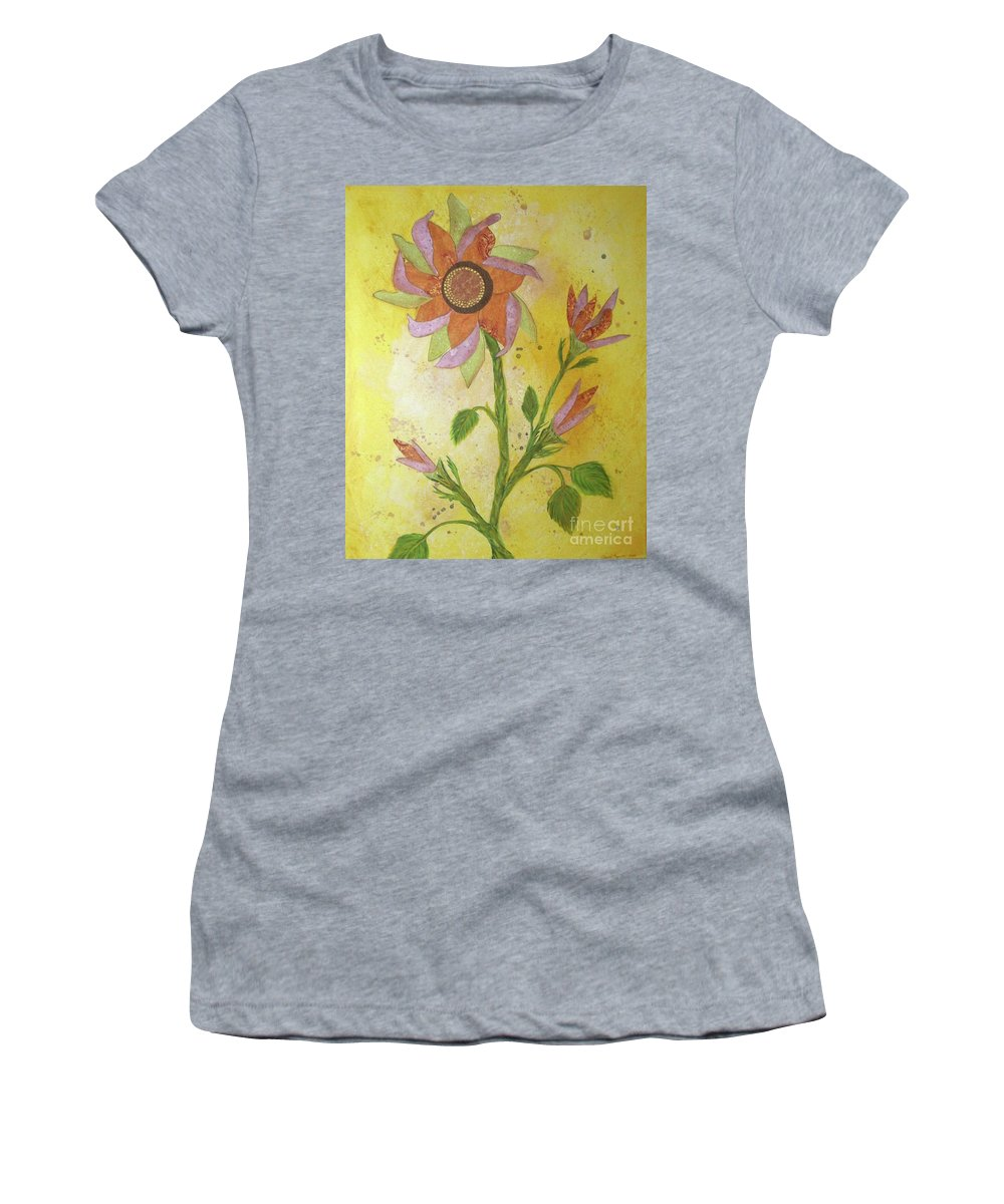 Sunflowers Women's T-Shirt (Athletic Fit) featuring the mixed media Sunflowers by Desiree Paquette