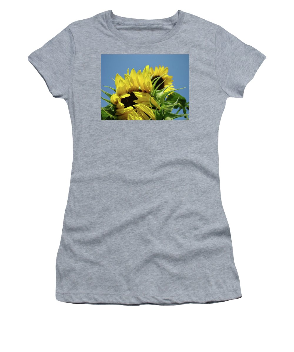 Sunflower Women's T-Shirt (Athletic Fit) featuring the photograph Sunflowers Summer Garden Art Prints Blue Sky Baslee by Baslee Troutman