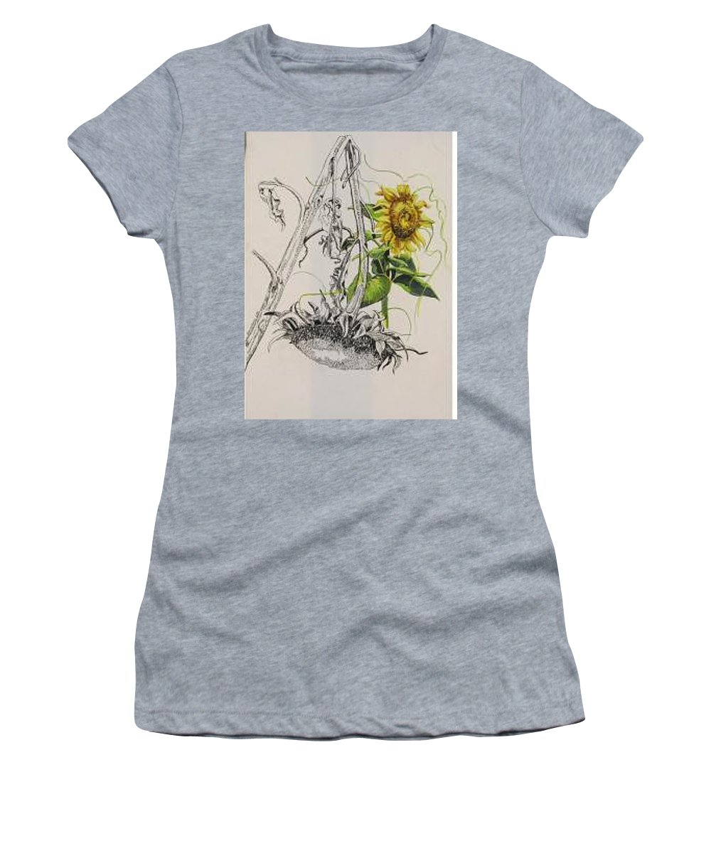 Large Sunflowers Featured Women's T-Shirt featuring the painting Sunflowers by Wanda Dansereau