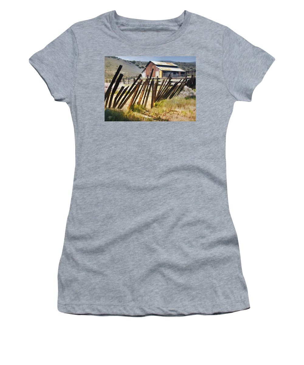 Fence Women's T-Shirt (Athletic Fit) featuring the digital art Sunlit Fence by Sharon Foster