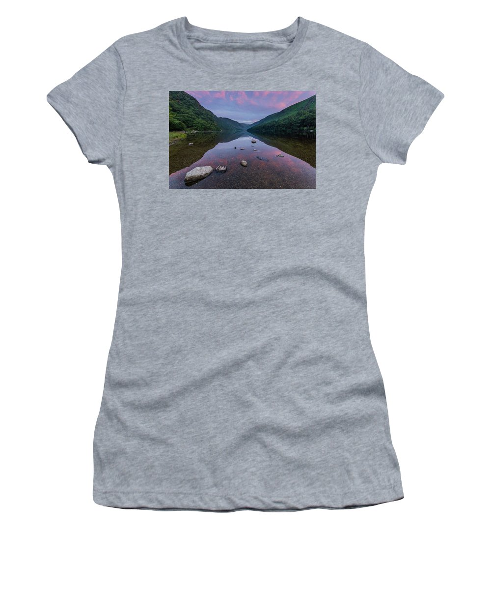 Sunrise Women's T-Shirt featuring the photograph Sunrise at Glendalough Upper Lake #3, County Wicklow, Ireland. by Anthony Lawlor