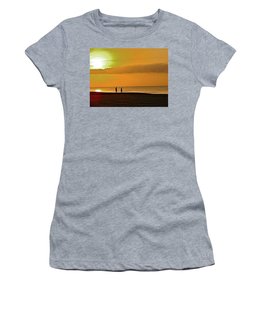 Beach Women's T-Shirt (Athletic Fit) featuring the photograph Sunrise Stroll by Diana Hatcher