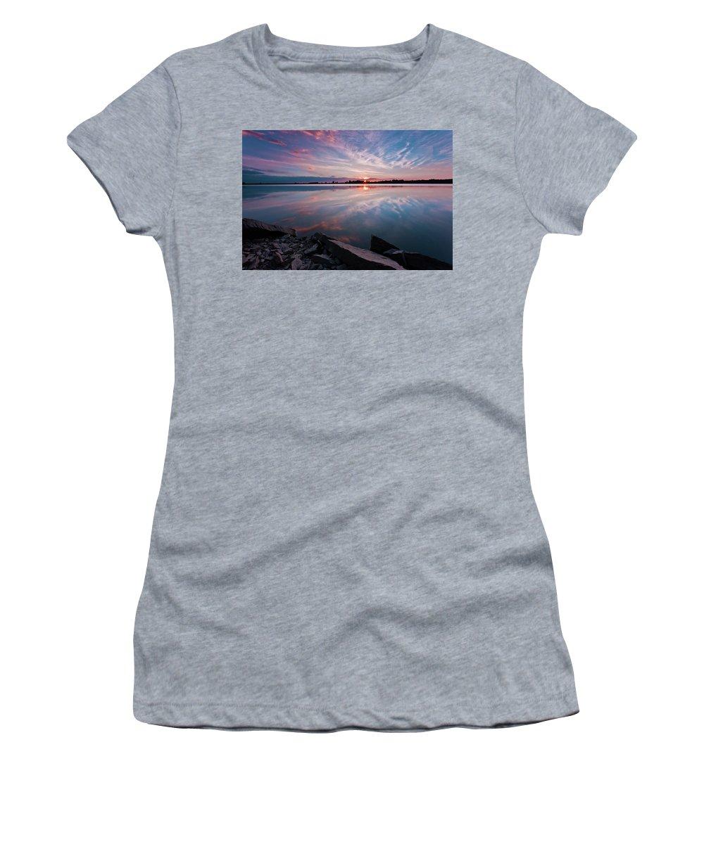 Sunrise Women's T-Shirt featuring the photograph Sunset at Anglezarke Reservoir #1, Rivington, Lancashire, North West England by Anthony Lawlor