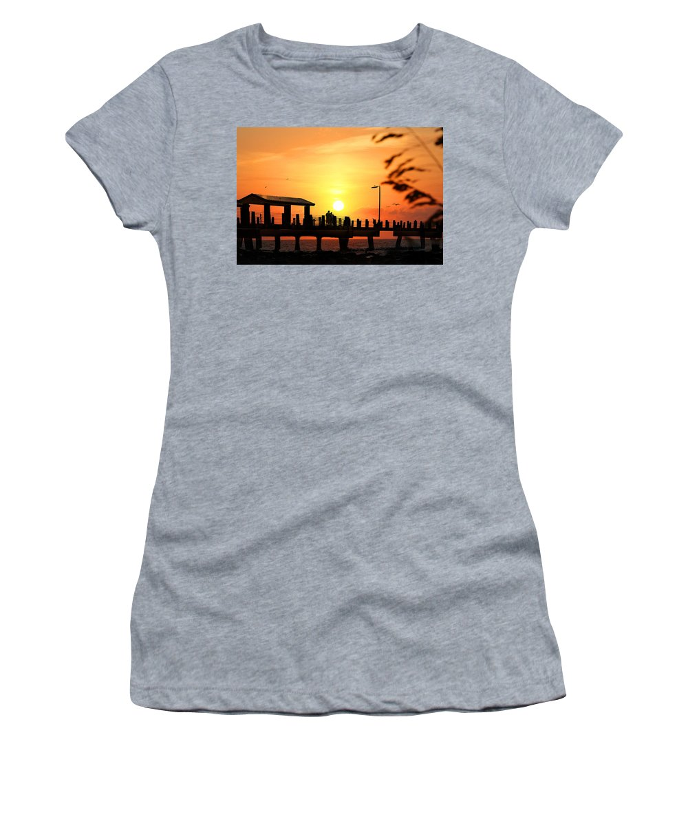 Fort De Soto Women's T-Shirt featuring the photograph Sunset At Fort De Soto Fishing Pier Pinellas County Park St. Petersburg Florida by Mal Bray
