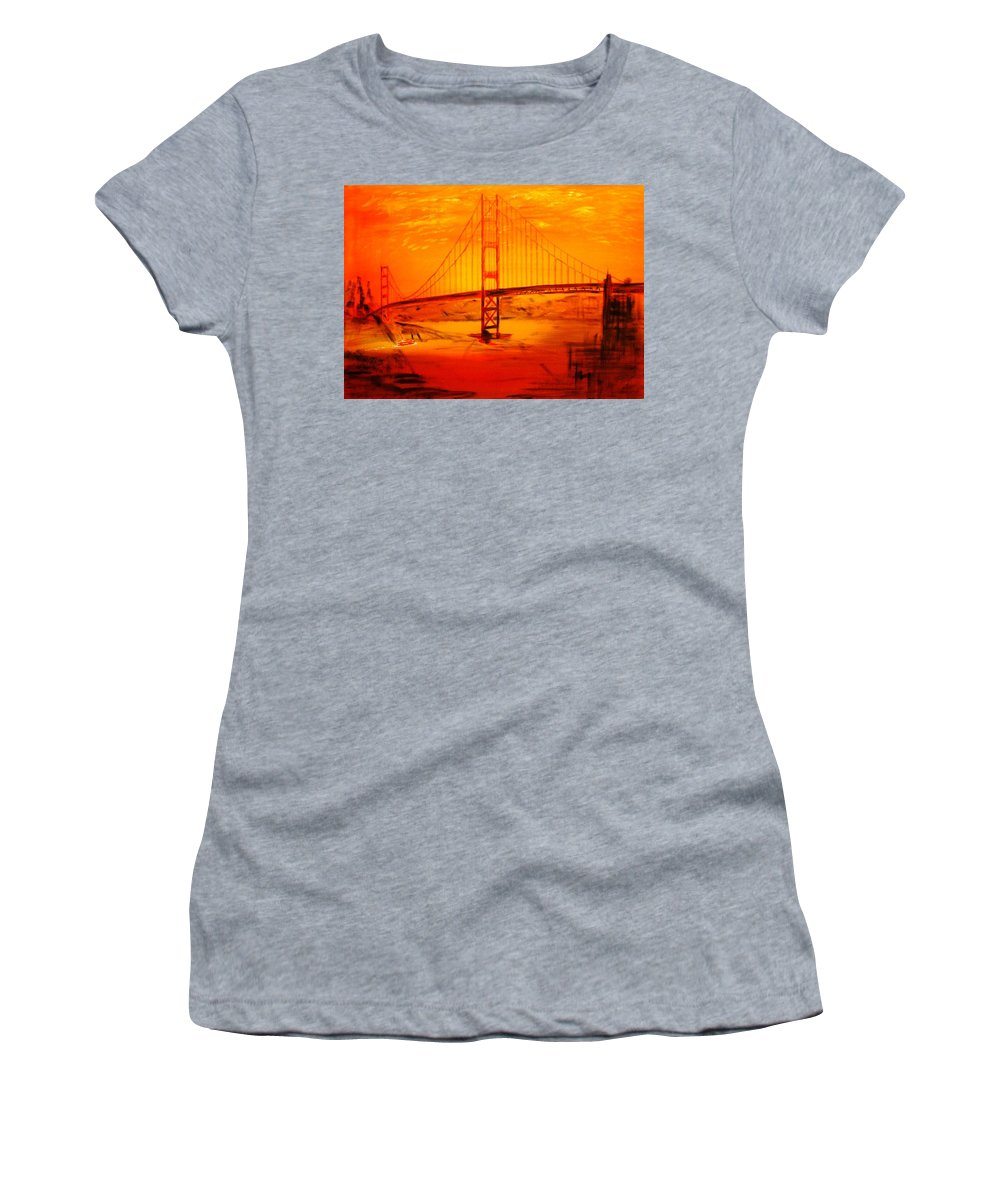 Sunset At Golden Gate Women's T-Shirt (Athletic Fit) featuring the painting Sunset At Golden Gate by Helmut Rottler