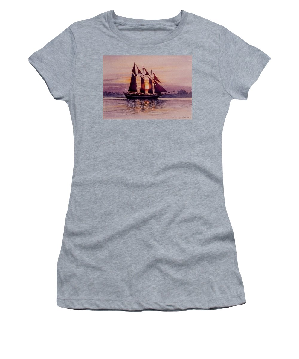Ship Women's T-Shirt (Athletic Fit) featuring the mixed media Sunset At Sea by Constance Drescher