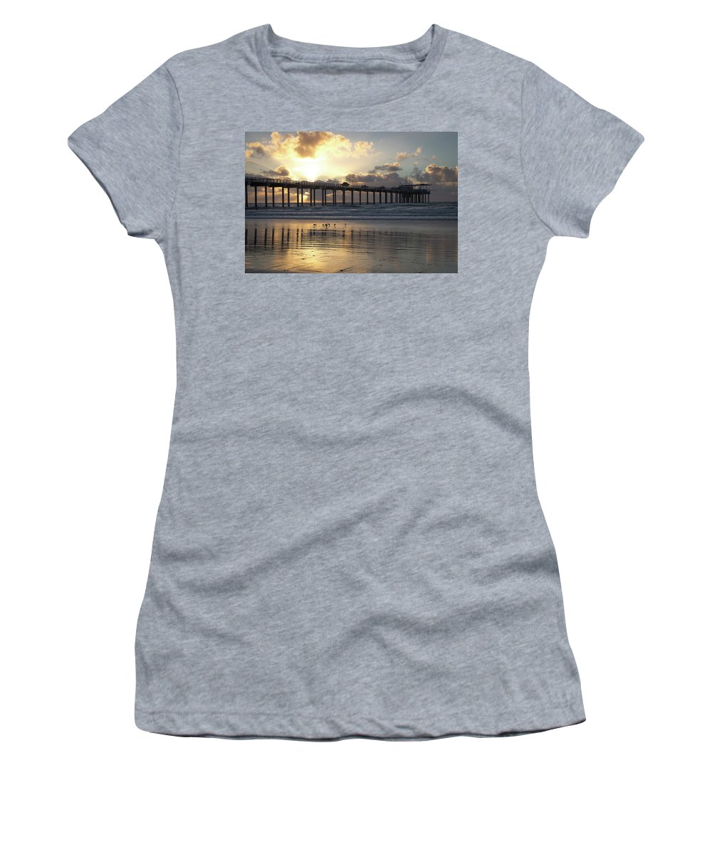 San Diego Sunset Women's T-Shirt (Athletic Fit) featuring the photograph Sunset At The Pier by Gregory Payne