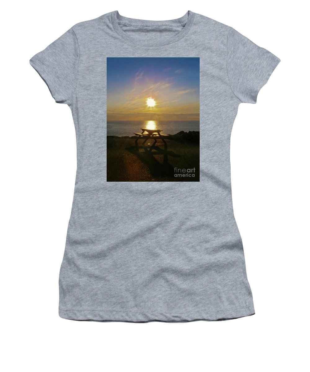 Sunset Women's T-Shirt featuring the photograph Sunset Picnic by Terri Waters