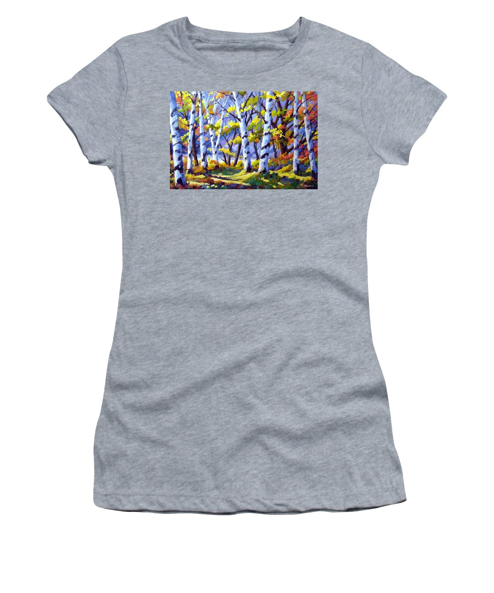 Art Women's T-Shirt featuring the painting Sunshine And Birches by Richard T Pranke