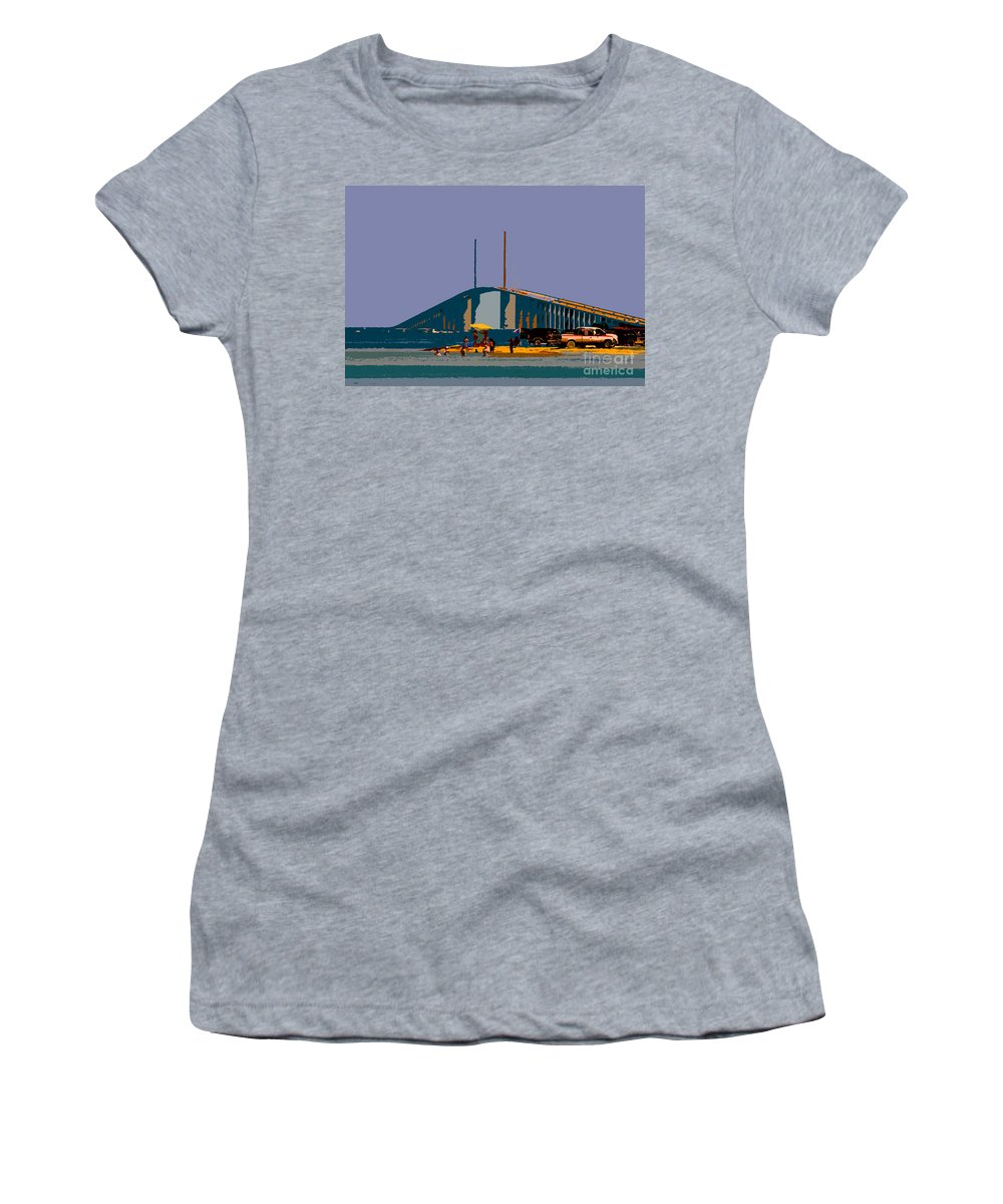 Sunshine Skyway Bridge Women's T-Shirt (Athletic Fit) featuring the photograph Sunshine Skyway by David Lee Thompson