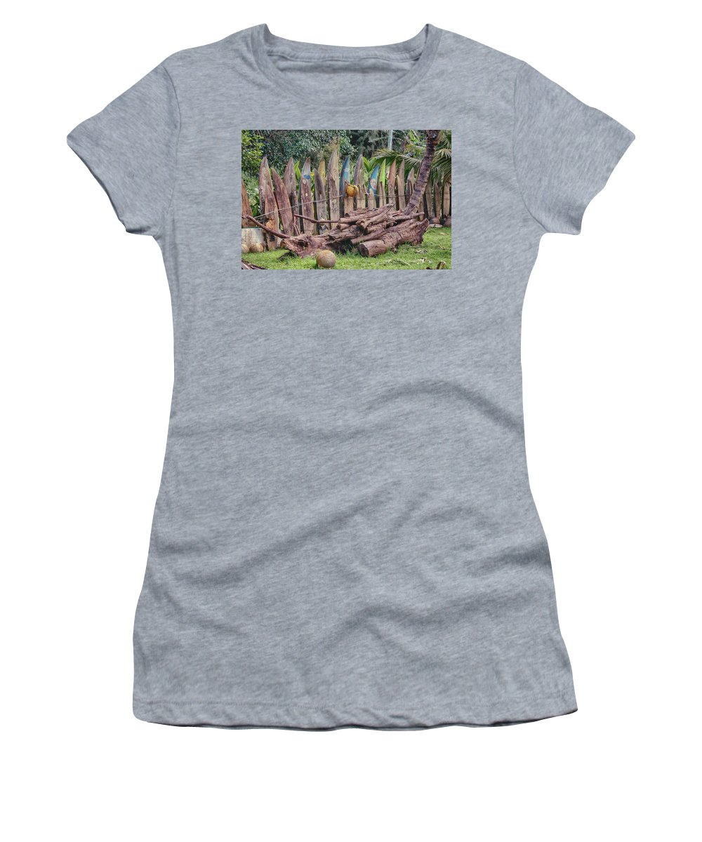 Surfboard Women's T-Shirt (Athletic Fit) featuring the photograph Surfboard Fence Hawaii by Craig Voth