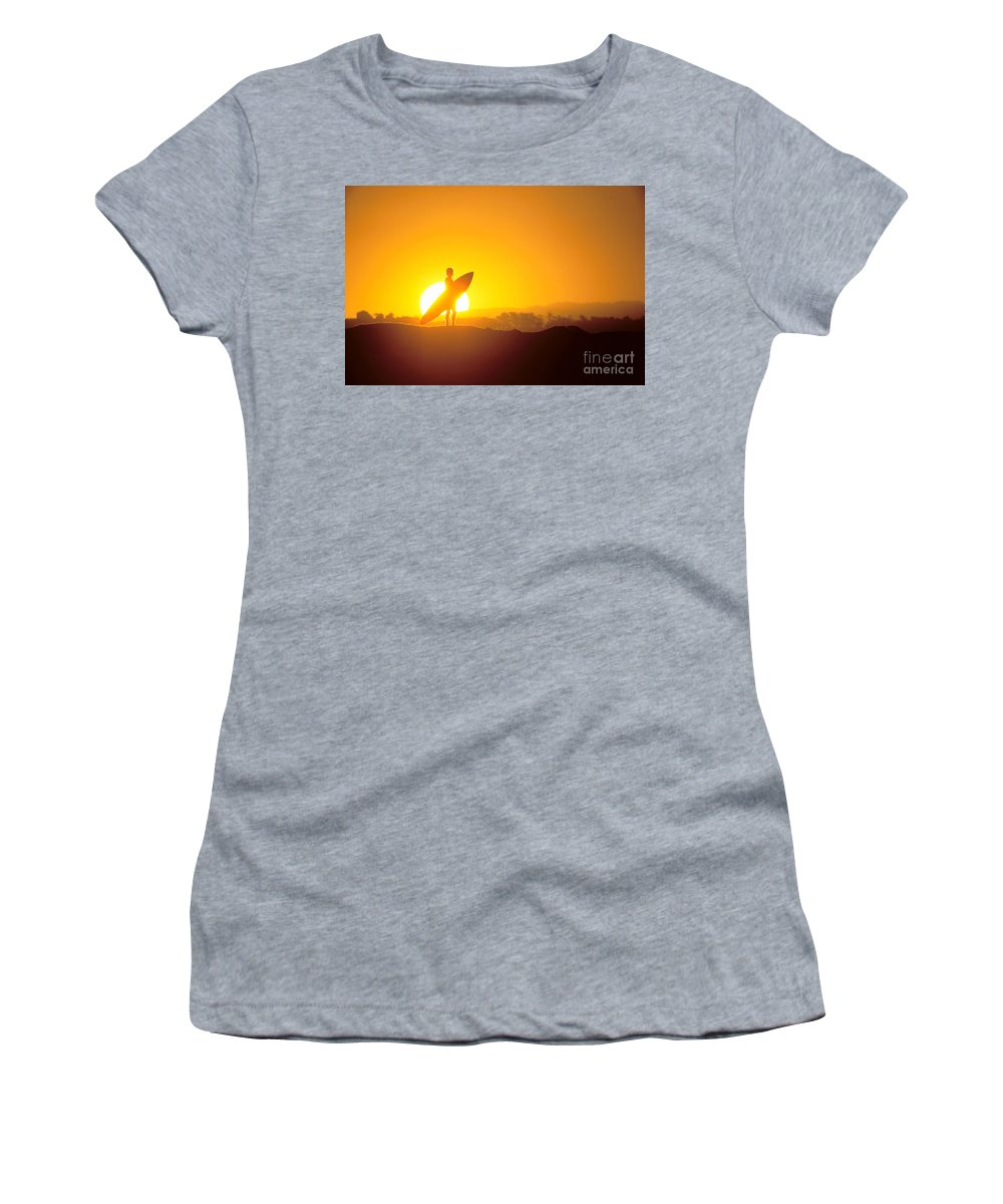 Athlete Women's T-Shirt featuring the photograph Surfer Silhouetted At Sun by Erik Aeder - Printscapes