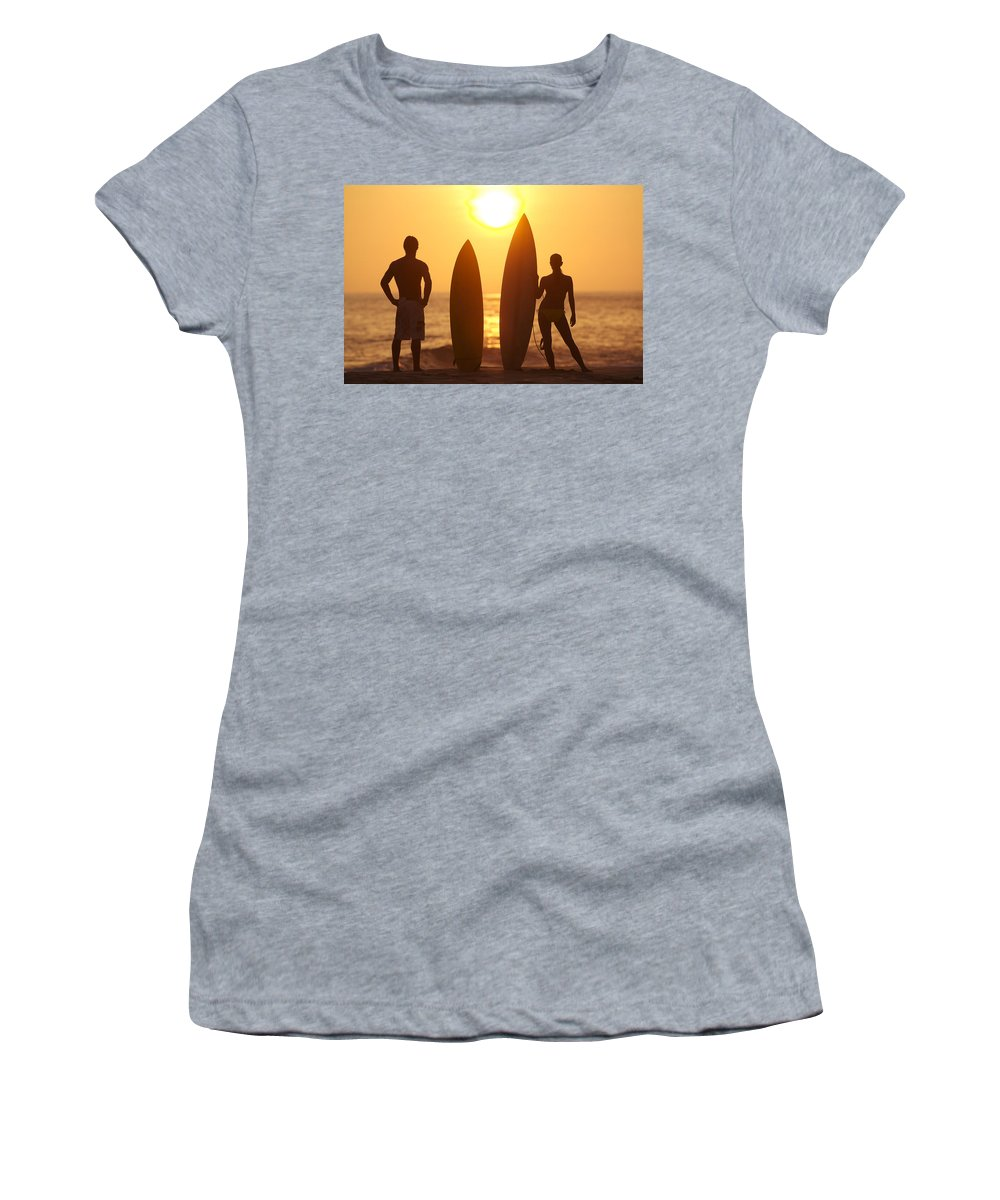 Afternoon Women's T-Shirt featuring the photograph Surfer Silhouettes by Larry Dale Gordon - Printscapes