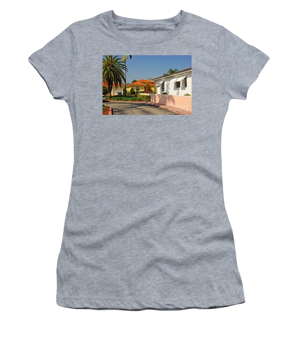 Florida Women's T-Shirt (Athletic Fit) featuring the photograph Surfside Neighborhood In Miami Beach by Zalman Latzkovich