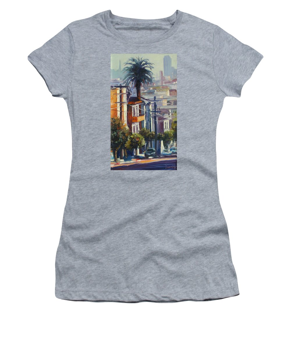 Cityscape Women's T-Shirt (Athletic Fit) featuring the painting Post Street by Rick Nederlof