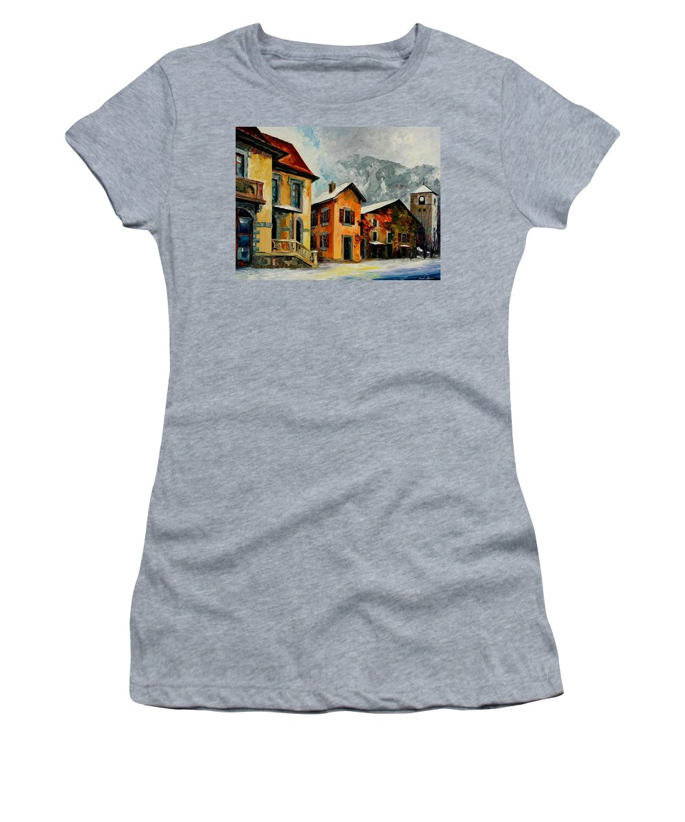 Afremov Women's T-Shirt (Athletic Fit) featuring the painting Switzerland - Town In The Alps by Leonid Afremov