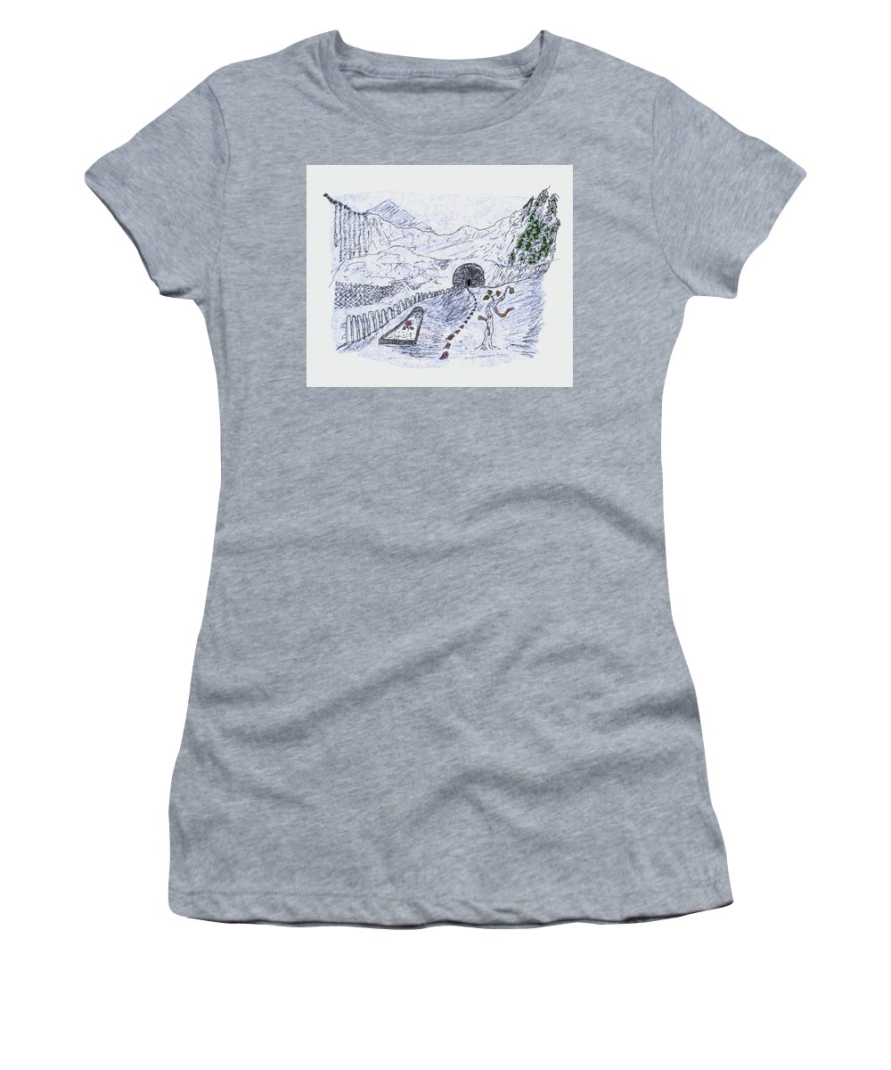 Surrealism Women's T-Shirt (Athletic Fit) featuring the drawing Symbols Are An Ism by Barry Gremillion