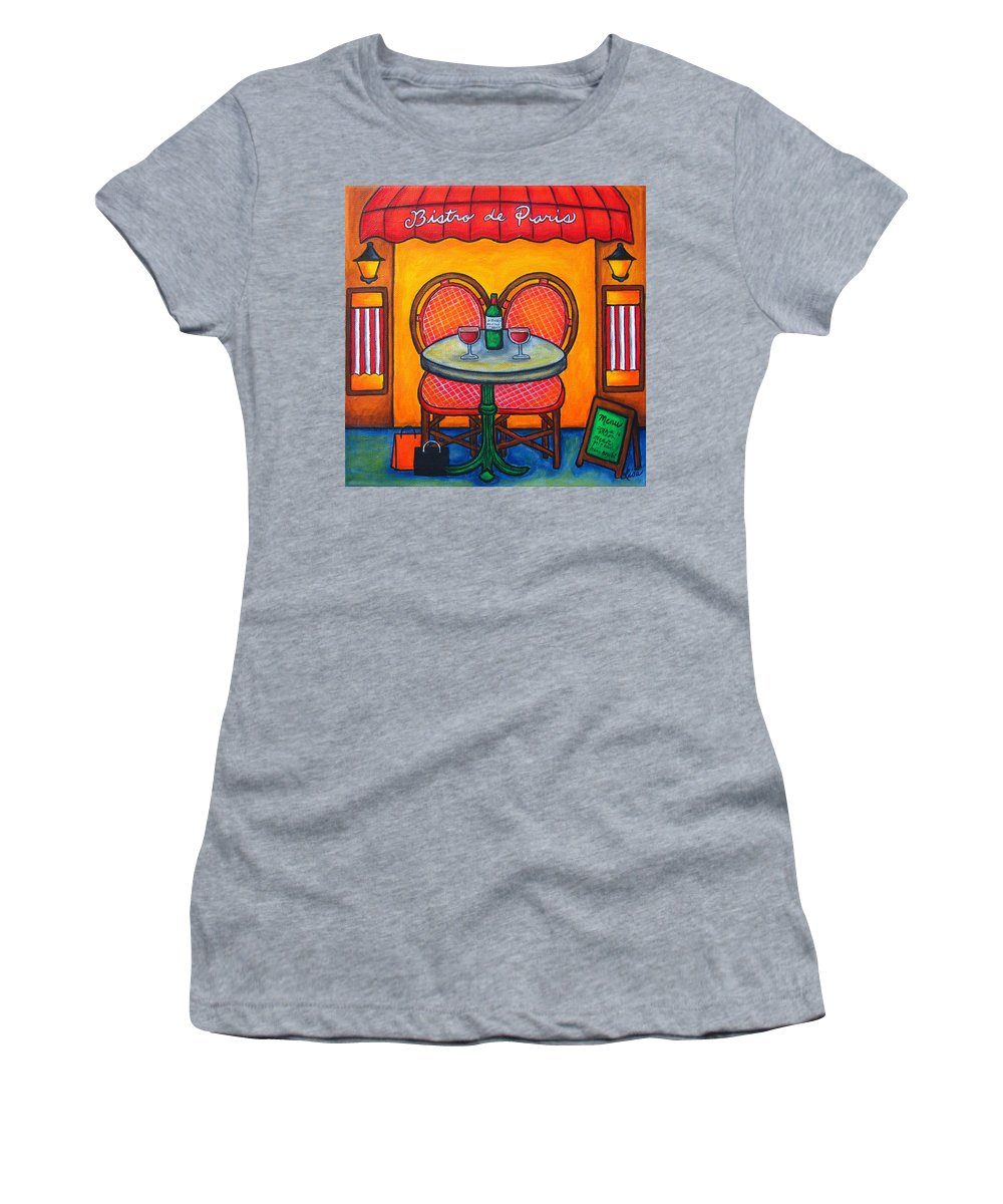 Paris Women's T-Shirt featuring the painting Table For Two In Paris by Lisa Lorenz