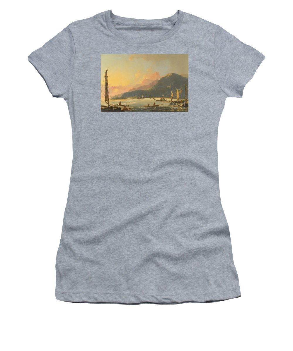 William Hodges Women's T-Shirt featuring the painting Tahitian War Galleys In Matavai Bay by Celestial Images