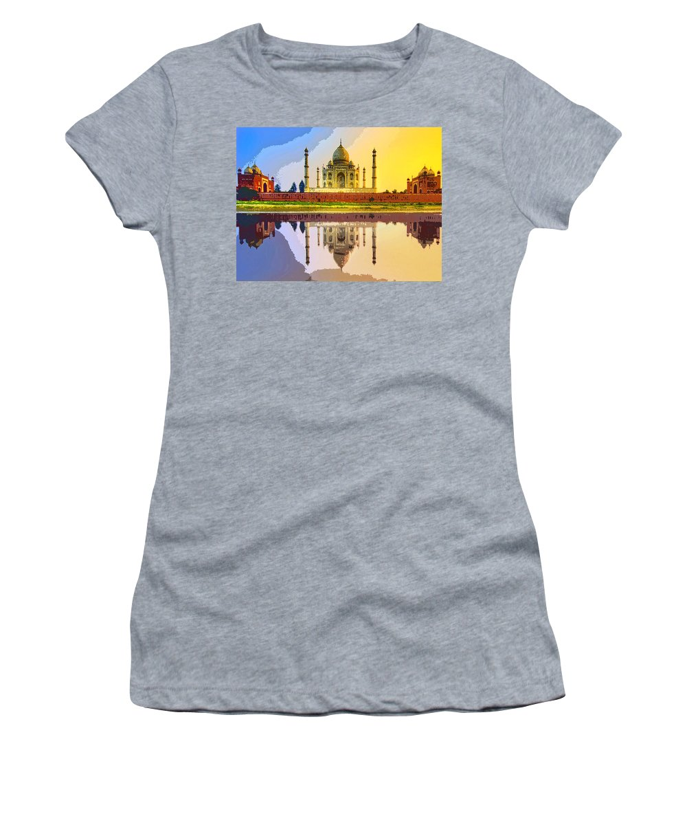 Taj Mahal At Sunrise Women's T-Shirt (Athletic Fit) featuring the photograph Taj Mahal At Sunrise by Dominic Piperata