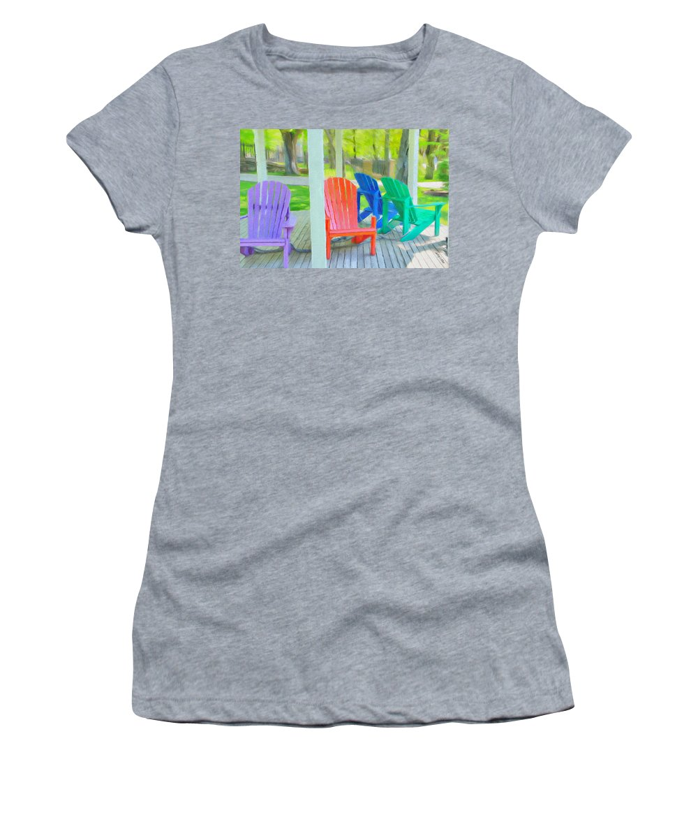 Halifax Women's T-Shirt featuring the painting Take A Seat But Don't Take A Chair by Jeffrey Kolker