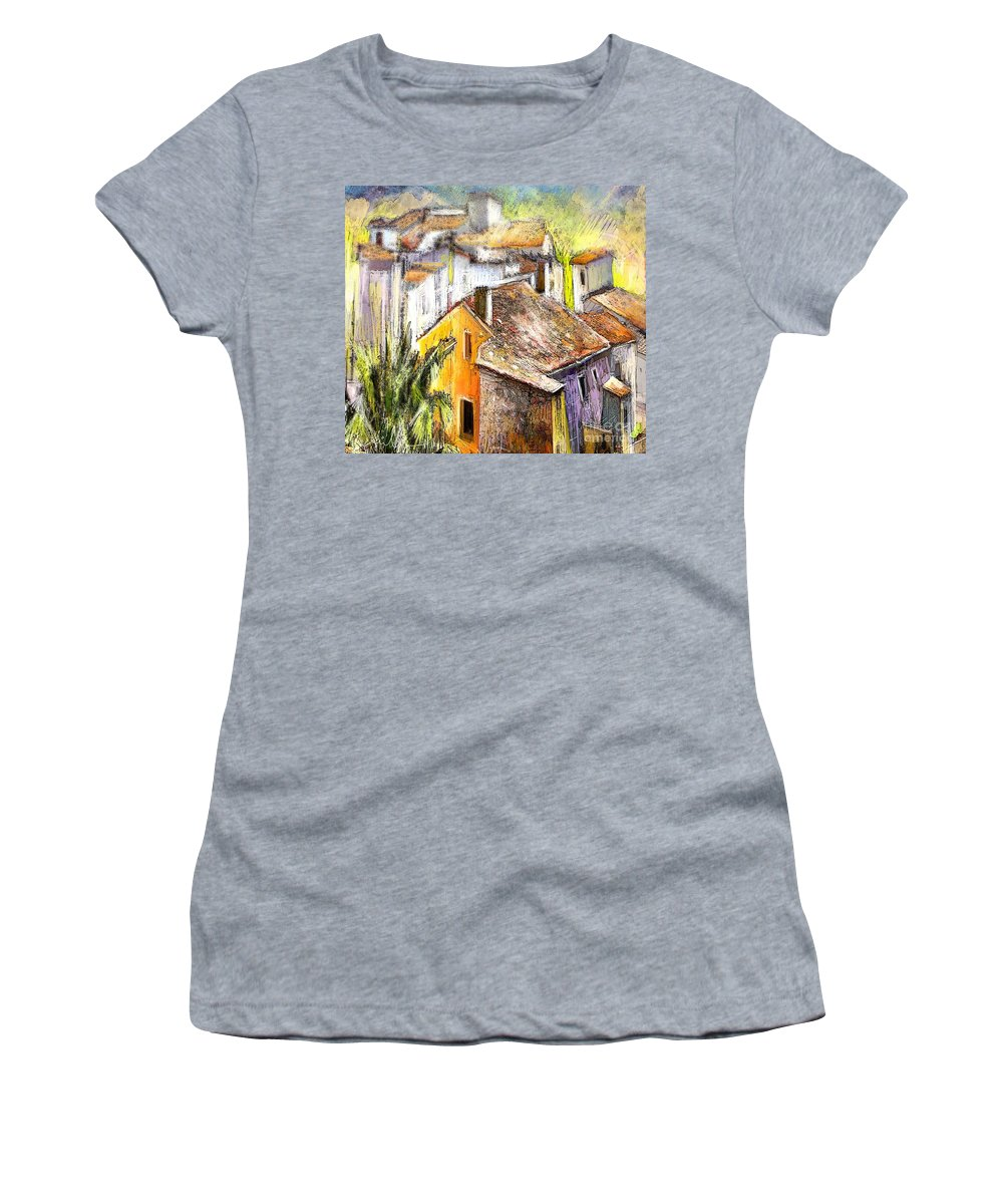 Tarbena Painting Women's T-Shirt (Athletic Fit) featuring the painting Tarbena 04 by Miki De Goodaboom