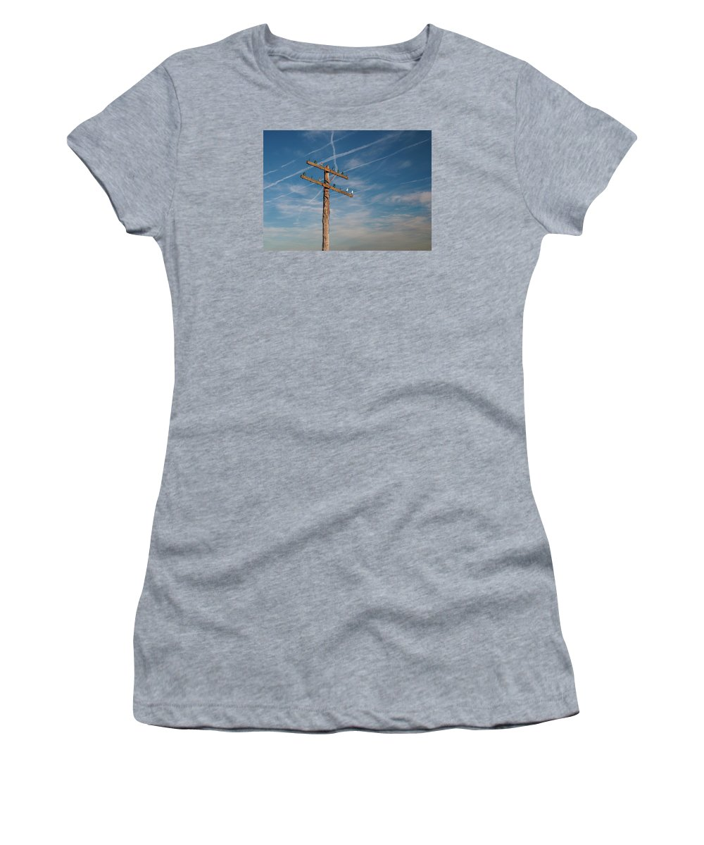 Telegraph Women's T-Shirt (Athletic Fit) featuring the photograph Telegraph Line by Grant Groberg