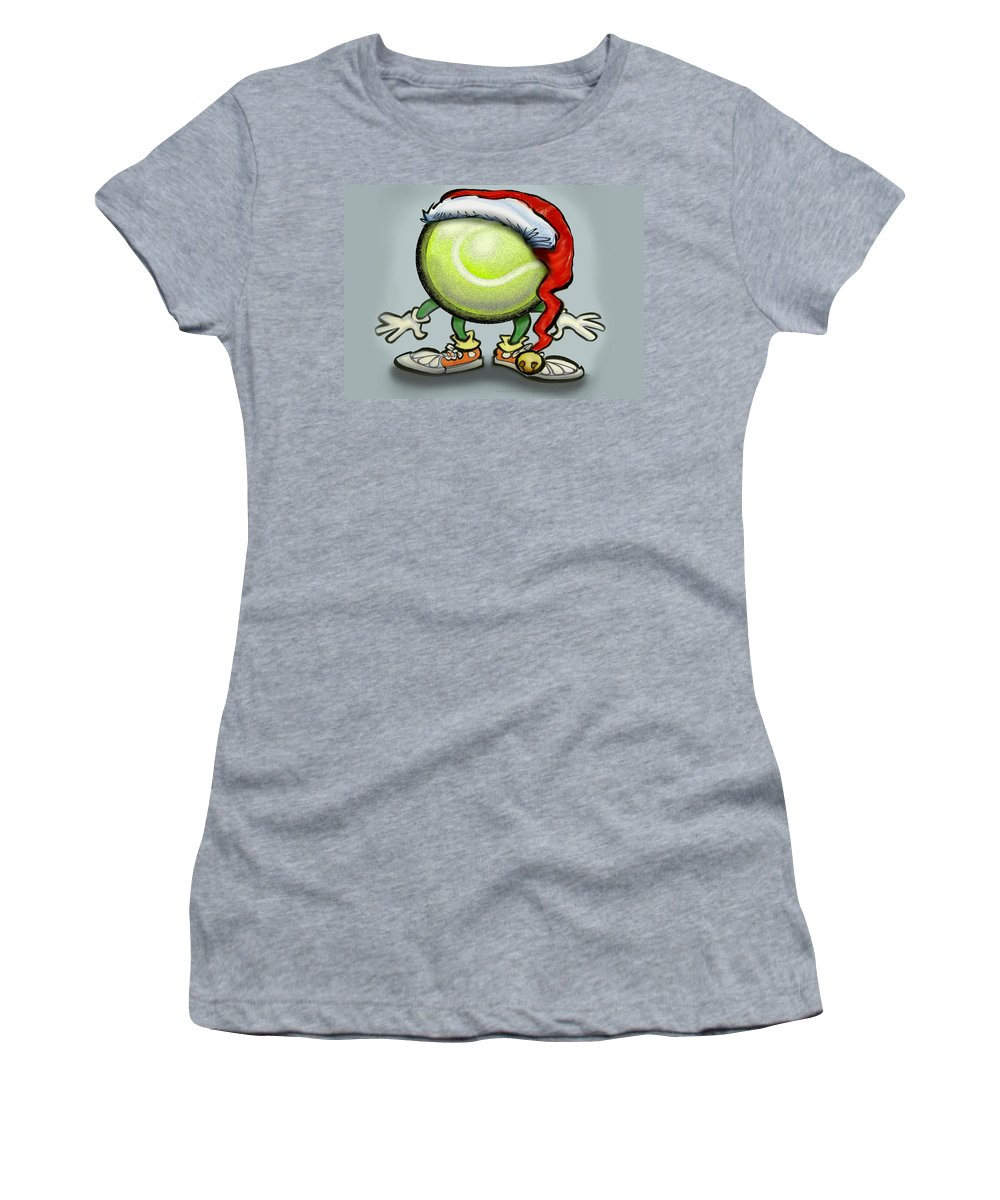 Tennis Women's T-Shirt featuring the greeting card Tennis Christmas by Kevin Middleton