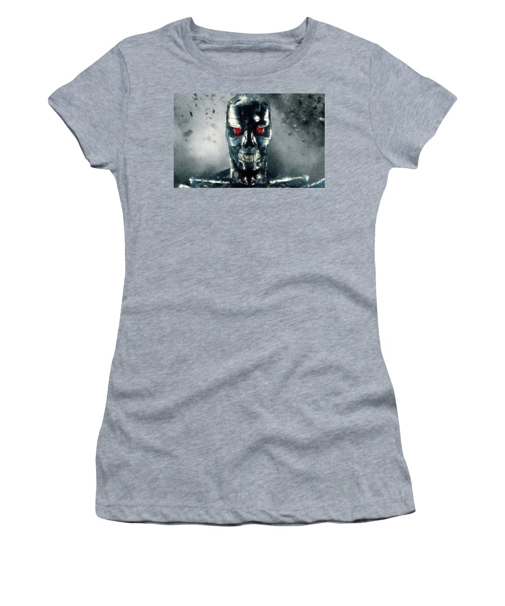 Terminator Women's T-Shirt featuring the drawing Terminator Oil Pastel Sketch by Movie Poster Prints