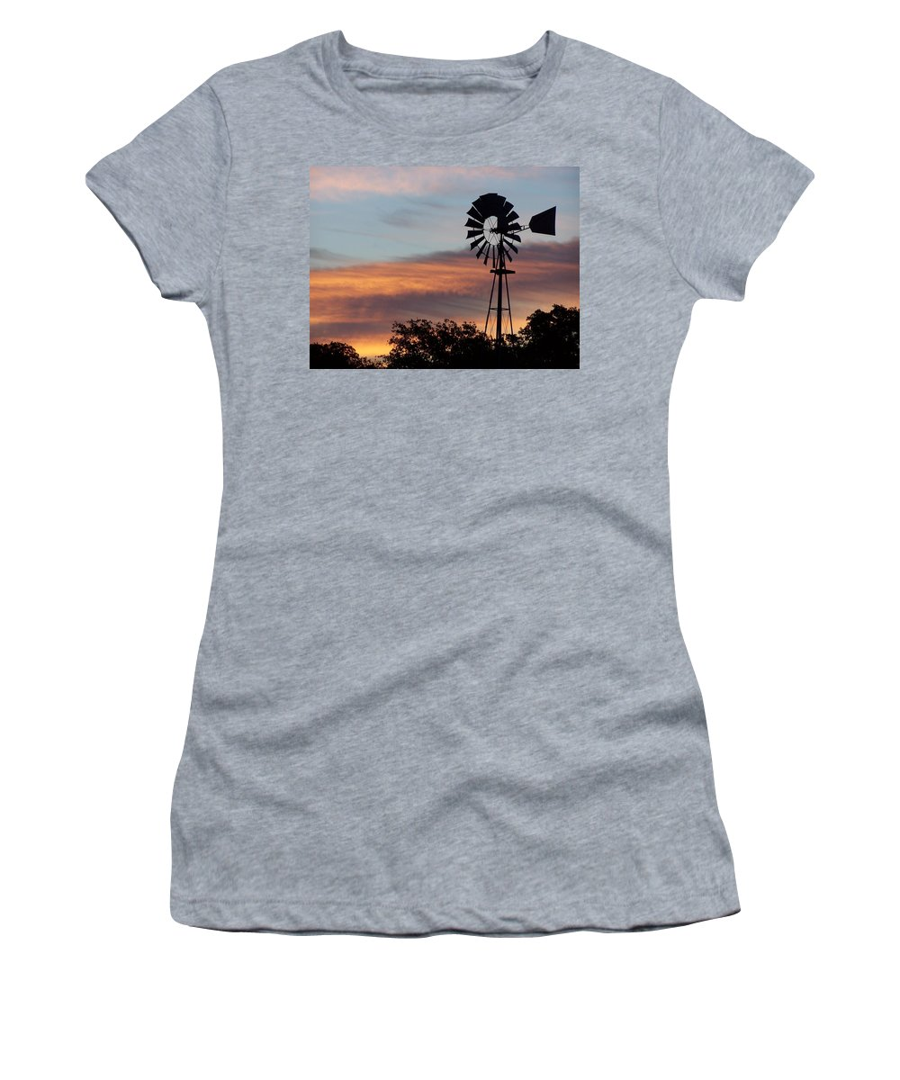 Windmill Women's T-Shirt (Athletic Fit) featuring the photograph Texas Sunrise by Gale Cochran-Smith