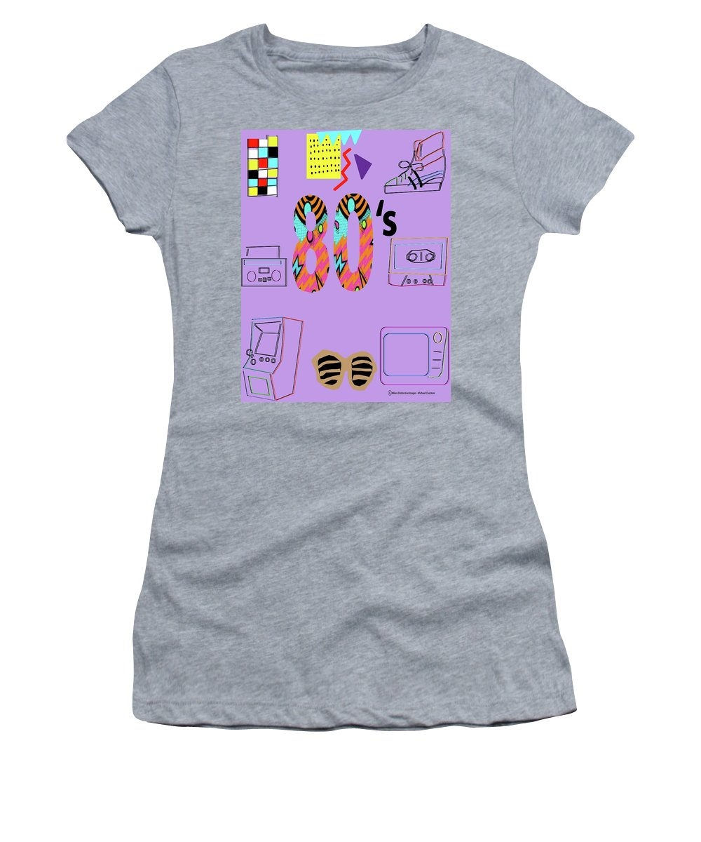 80's Art Women's T-Shirt (Athletic Fit) featuring the digital art The 80's by Michael Chatman