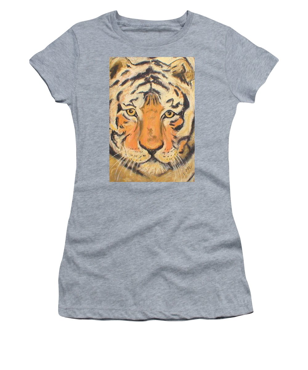 Pastel Women's T-Shirt (Athletic Fit) featuring the drawing The Amber Stare by Cori Solomon