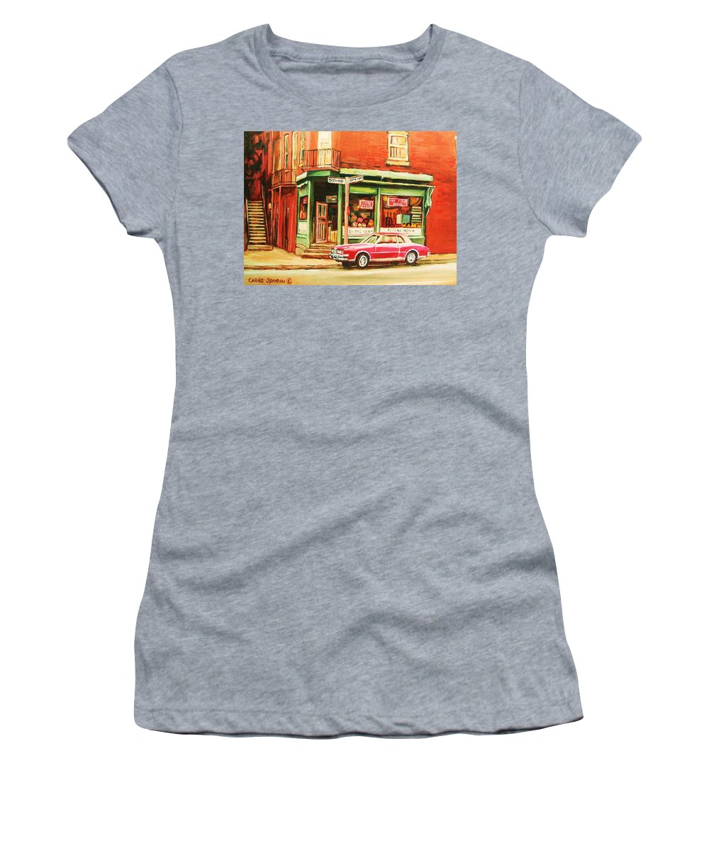 Montreal Women's T-Shirt featuring the painting The Arcadia Five And Dime Store by Carole Spandau