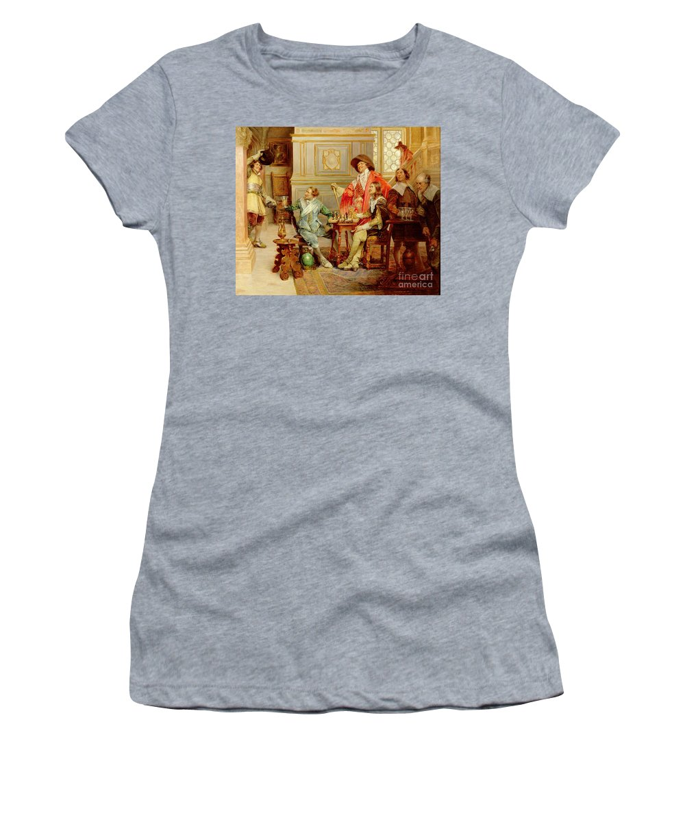 Athos; Porthos; Aramis; Musketeer; Interior; French; Male; Guards; C17th; Chess; Playing; Drinking; C19th; C20th; Mousqutaire Women's T-Shirt featuring the painting The Arrival Of D'artagnan by Alex de Andreis