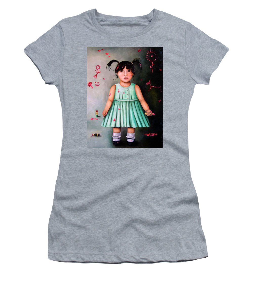 Baby Women's T-Shirt (Athletic Fit) featuring the painting The Artist-beginning Of A Child Prodigy by Leah Saulnier The Painting Maniac