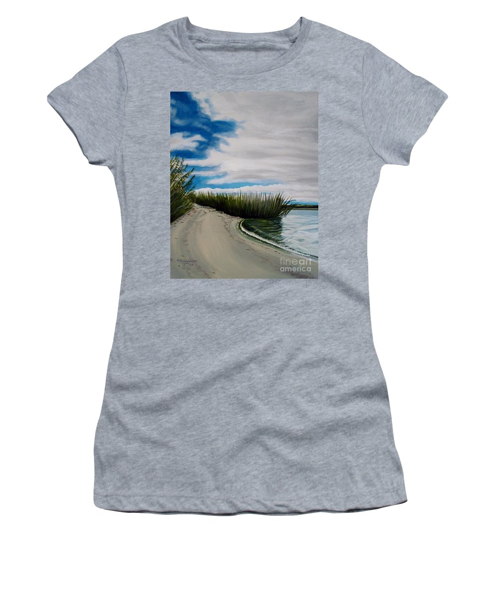 Beach Women's T-Shirt (Athletic Fit) featuring the painting The Beach by Elizabeth Robinette Tyndall