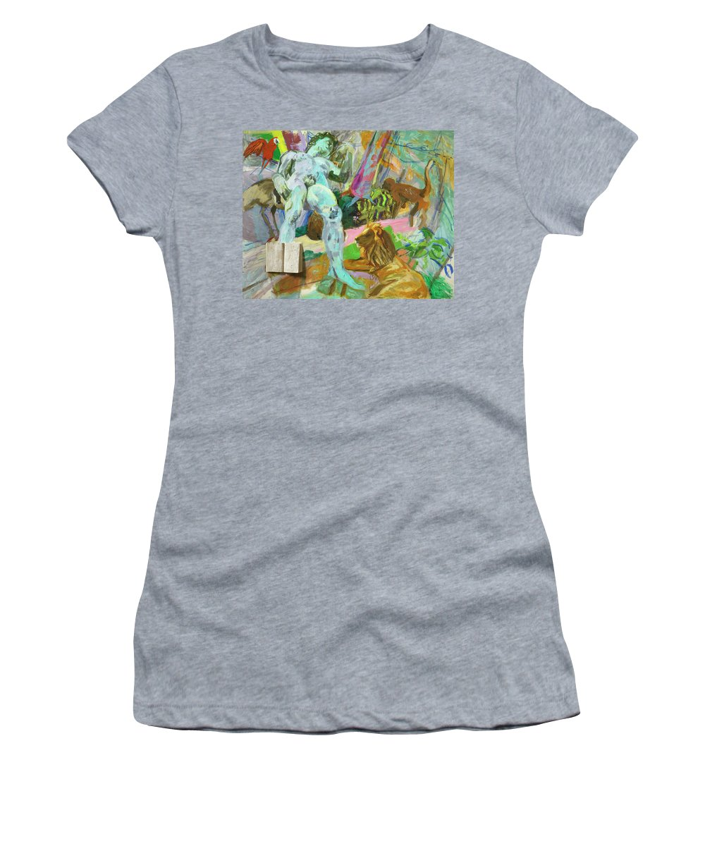 David Women's T-Shirt featuring the painting The Beginning Of Animal Stories by Regina Gately