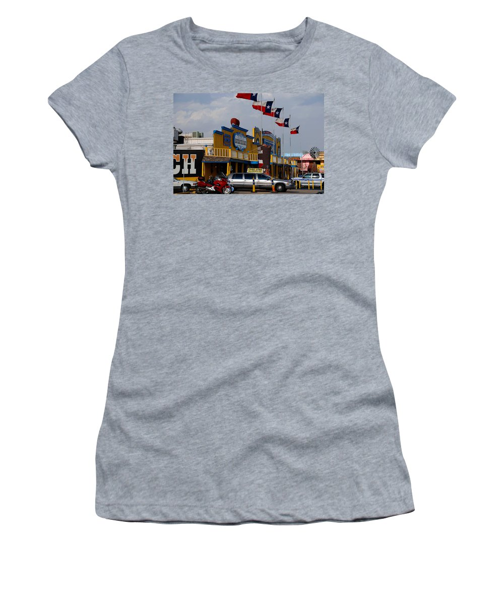 The Big Texan Women's T-Shirt (Athletic Fit) featuring the photograph The Big Texan In Amarillo by Susanne Van Hulst