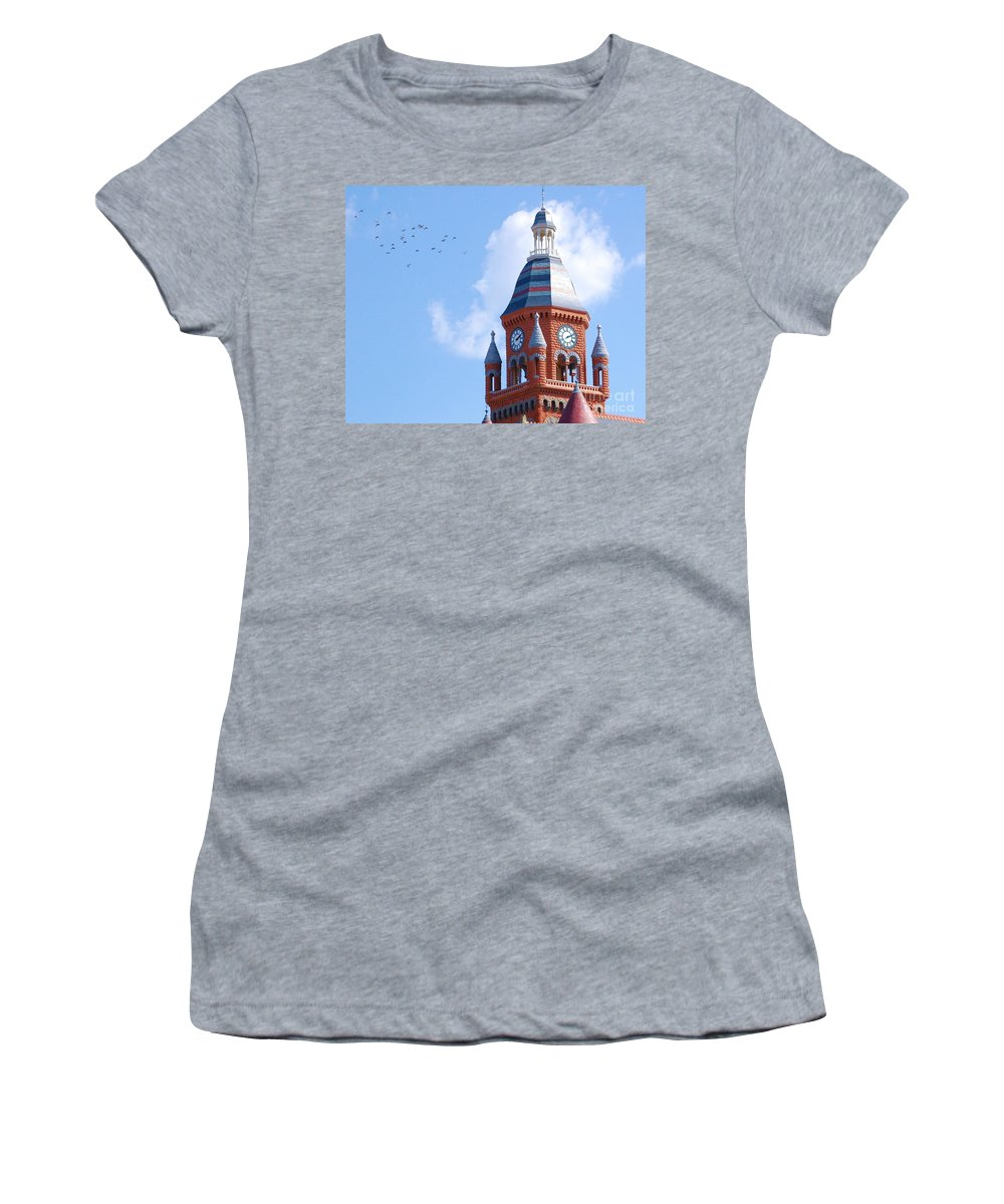 Clock Women's T-Shirt (Athletic Fit) featuring the photograph The Birds by Debbi Granruth