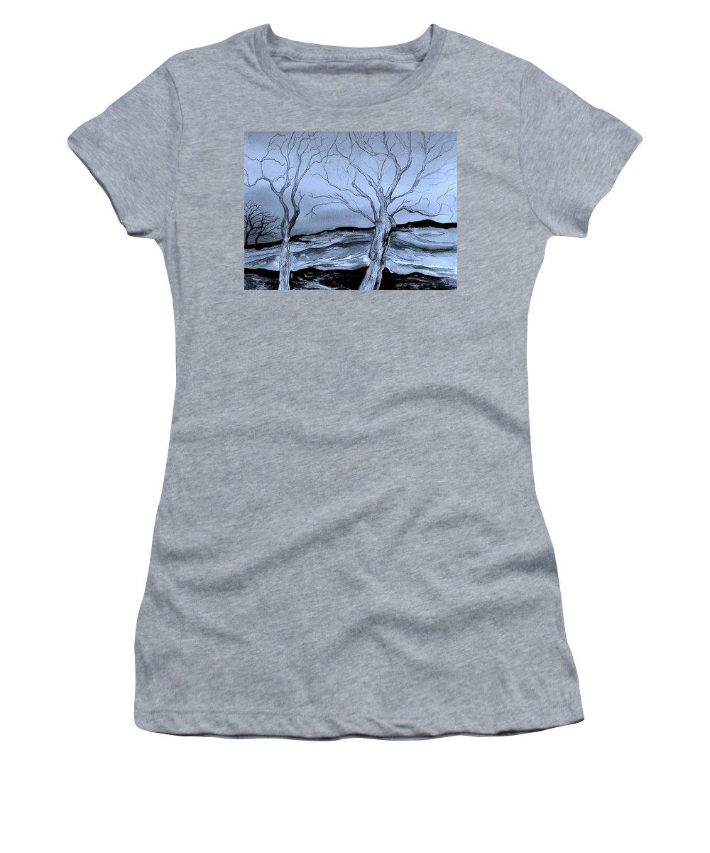 Landscape Women's T-Shirt featuring the painting The Bleak Terrain by Brenda Owen