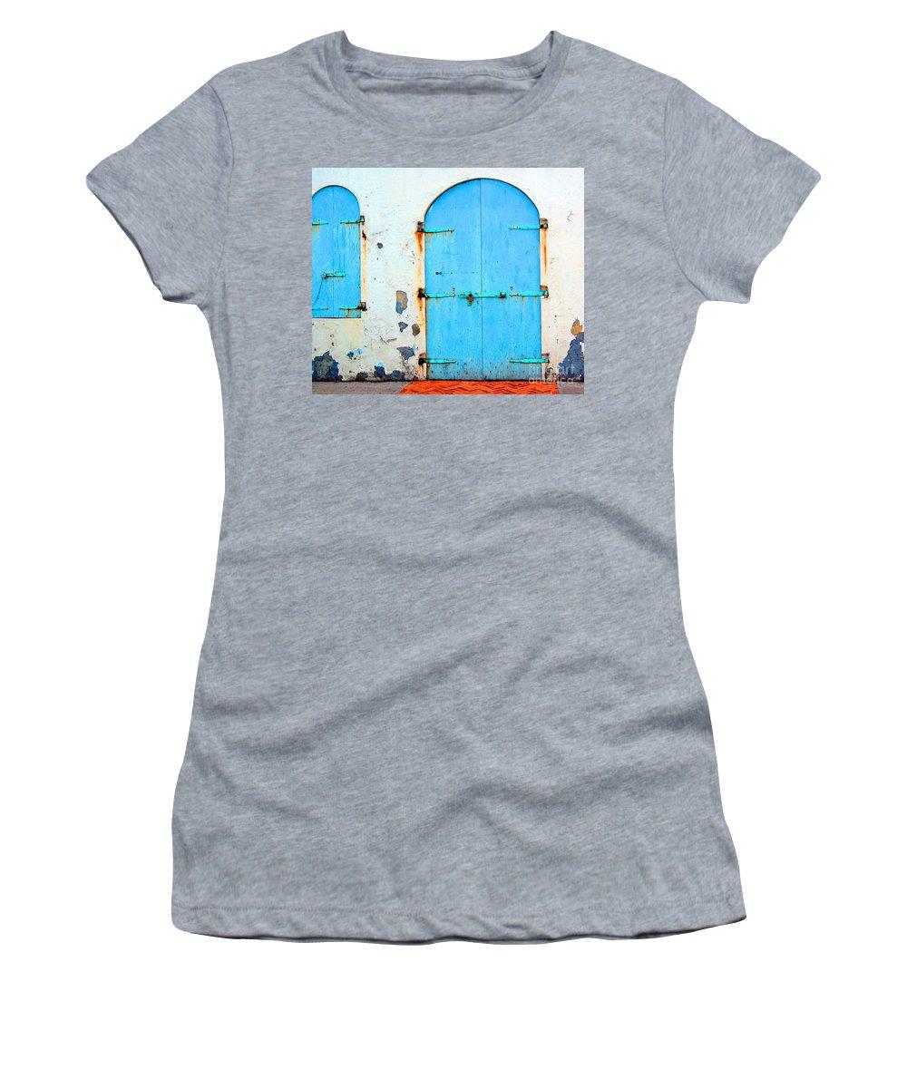 Door Women's T-Shirt featuring the photograph The Blue Door Shutters by Debbi Granruth